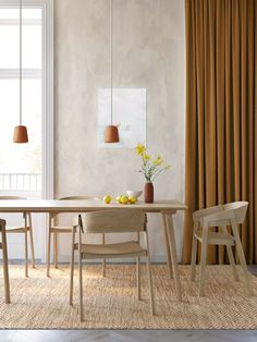 Above recycling and beyond sustainability on Behance Apartment Interior, Home Interior, Kitchen Interior, Interior Architecture, Interior Design, Danish Interior, Oak Dining Sets, Minimalist Dining Room, Sustainable Furniture