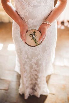 wooden ring holder with rosemary