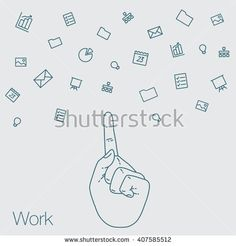 Hand set of line icons. Demonstration internet and social network. Vector flat illustration of cloud service and technology. Sharing of working file and document project.  Tools for business and work.
