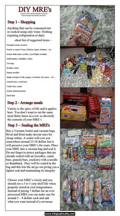 diy mre's for preppers are less expensive for those prepping on a budget