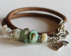 Wrap beaded bracelet bangle  opal by ChickpeaDesignStudio on Etsy, $85.00