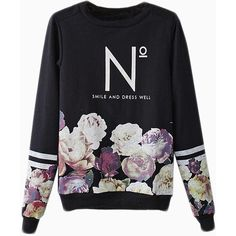 Choies Black Floral Sweatshirt With N Pattern ($34) ❤ liked on Polyvore featuring tops, hoodies, sweatshirts, sweaters, shirts, sweatshirt, black, floral sweatshirt, black floral shirt and black sweat shirt