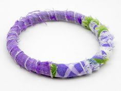 Purple Fabric Bangle by MountainLightJewelry on Etsy, $18.00