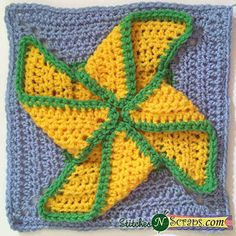 Pinwheel Square, free crochet pattern by StitchesNScraps. Perfect for baby blankets.