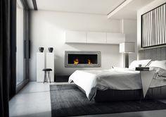 Modern bedroom with biofireplace JULIET 1500