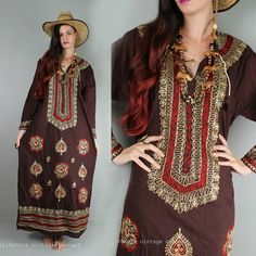 vtg 70s Cotton Embroidering India dress Boho Gypsy Hippy long Festival Dress L  £42.28 (7B)