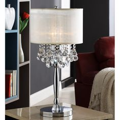 "Kingstown Home Cortona Mist Circular Base Crystal 29.5"" H Table Lamp with Drum Shade"