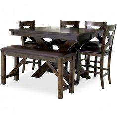 CROWN MARK ELLIOTT 4 CHAIR & BENCH PUB SET - HOUSTON DINING ROOM ...