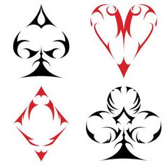 After being inspired to design a Spade, I wasn& satisfied. Thus began my small project to create a tribal-type set of Card Suits. Maybe one day I can get these printed on to a deck. Body Art Tattoos, Tattoo Drawings, Tribal Tattoos, Sleeve Tattoos, Art Drawings, Tatoos, Ace Of Spades Tattoo, Playing Card Tattoos, Playing Cards