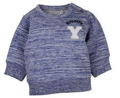 ongens sweater Enjoy van het kinderkleding merk Dirkje babywear.  Dit is een blauw gestreepte zomer sweater met op de borst de letter Y met de tekst ENJOY