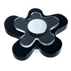 """Bouton de meuble """"Flower"""" noir 47x46mm ABS"""