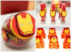 Baleiro, tubetes e caixas decoradas para Homem de Ferro em Os Vingadores - Miguel 03 anos                                                                                                                                                                                 Mais