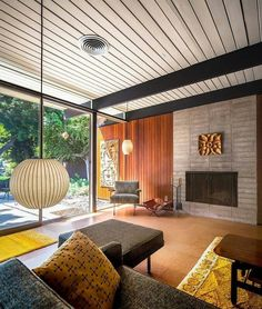 Midcentury modern living room #interior #mcm fireplace