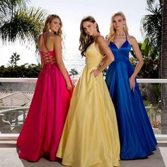 Simple and elegant long prom dress with sweetheart V neckline in style JD this dress features open lace up back and pockets- shop prom-avenue Available in in Royal Blue, Yellow, Pink Fuchsia, Red Cute Prom Dresses, Homecoming Dresses, Formal Dresses, Wedding Dresses, Wedding Dress With Pockets, Dress Pockets, Formal Prom, Pageant, Evening Gowns