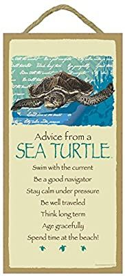 """Amazon.com: SJT Enterprises, INC. Advice from a Sea Turtle - 5"""" x 10"""" Wood Plaque Sign - Officially Licensed from Your True Nature (SJT67206): Home & Kitchen"""