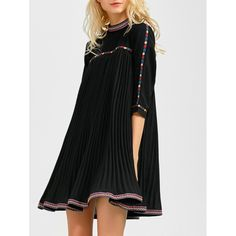 31.43$  Watch here - http://div37.justgood.pw/go.php?t=201958503 - Embroidered Trim Pleated Mini Swing Dress 31.43$
