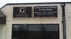 We re-faced these illuminated light boxes for Gonyea Building and Remodeling. Installation was a breeze, and the weather is perfect (for January in Minnesota!)