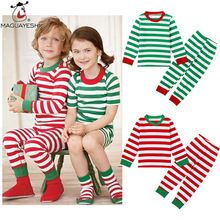 Children Clothing Sets Long Sleeve Baby Girls Pajamas Striped Top And Pants 2 pcs Clothing set Kids Christmas Costume For Boys(China (Mainland))