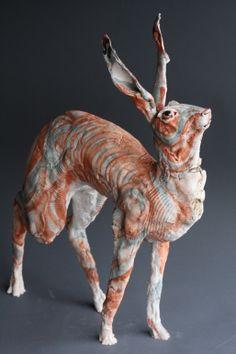 "Saatchi Art Artist: Gaynor Ostinelli; Ceramic 2011 Sculpture ""Standing Hare"""