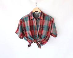 Vintage 80s Bright Plaid Chevron Cotton Woven Blouse. $28.00, via Etsy.