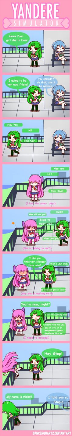 Yandere Comic - Stupid and Friendly Midori by DancerQuartz on DeviantArt