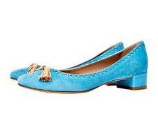 Skipper Light Blue Italian mid heel court shoe
