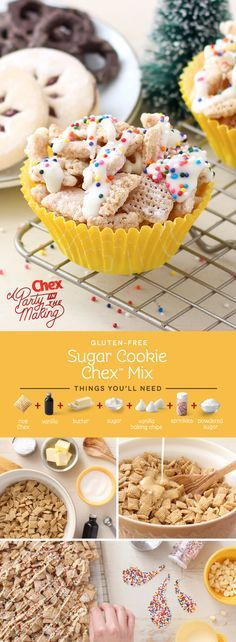 We bet no one else at your cookie exchange will bring this one! Homemade Sugar Cookie Chex Mix give you all the flavor of your favorite holiday cut-outs without even turning on the oven. Plus it's gluten free!