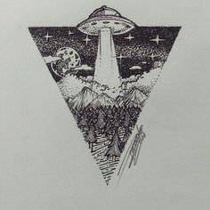 UFO Geometric Forest Drawing