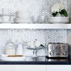 honeycomb pattern kitchen back splash--image via Pinterest