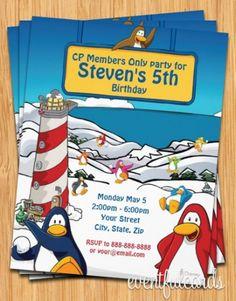 Club Penguin Birthday Party Invitation