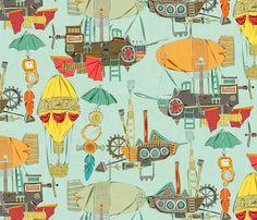 steampunk sky fabric by scrummy on Spoonflower - custom fabric