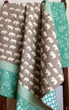 Baby Quilt, Modern, Organic, Mod Basics, Ellie Family, Mushroom Gray, Cream, Elephant, Birds, Cream, Pool Blue Green - birch fabrics