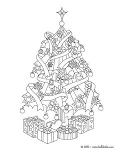 Christmas gifts and tree coloring page