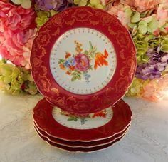 "4 Gorgeous Vintage Czech Porcelain 11"" Plates Red ~ Gold ~ Dresden Flowers #MadeinCzechoslovakia"