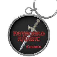 Shop Keyboard Knight MMORP Key Chain created by BlueRose_Design. Knight Sword, Charm Rings, Pvp, Custom Buttons, Key Chain, Keyboard, Colorful Backgrounds, Cool Designs