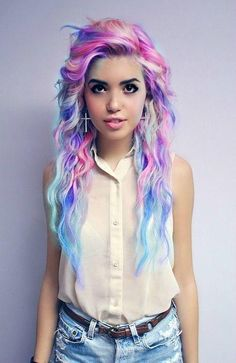 Rainbow colored hair. she looks way pretty like like