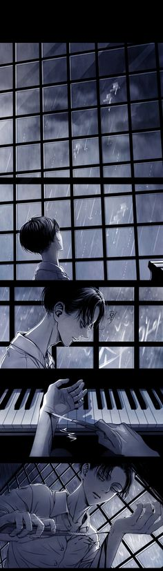 [1/4] [SnK//AoT] | [RiEre/EreRi] | The Piano by shul. || ๑ Title: The Piano || ๑ Pixiv ID: 40257800 (last picture is Goodbye kiss, id=40257147) || ๑ Artist: shul || ๑ Characters: Levi, Eren Yeager. || ๑ Rating: Parental Guidance. || ๑ Warning: Child abuse, self-harm.