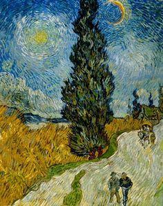 Vincent Van Gogh Route de campagne en Provence, la nuit c. 12-15 mai 1890, huile sur toile, 90,6 x 72 cm.  Kröller-Müller Museum, Otterlo © Collection Kröller-Müller Museum, Otterlo  http://www.offi.fr/expositions-musees/pinacotheque-de-paris-les-collections-5369/van-gogh-et-le-japonisme-45405.html