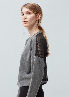 Sweat-shirt à empiècements respirants - Femme | MANGO France