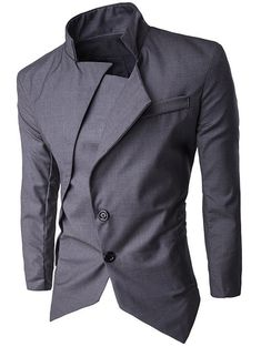 Back Vent Stand Collar Asymmetrical Blazer - DEEP GRAY XL