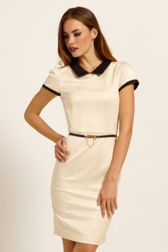 Paper Dolls Cream & Black Collar Detail Snakeskin Belted Bodycon Dress