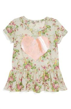 Lala Rebel Sequin Print Peplum Top (Toddler Girls) available at #Nordstrom