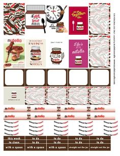 Planner & Journaling Printables ❤ FREE Nutella Free Printable Planner Stickers