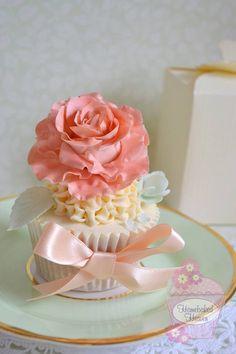 Large Peachy Pink Ruffled Flower Cupcake