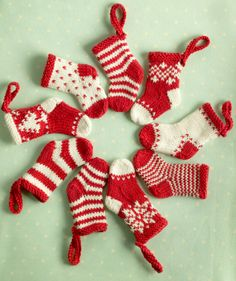 Knitted Mini Christmas Stockings...Cute stocking ideas