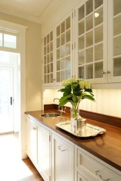 Pantry - wood counter and back splash, vertical v-groove (?), panes of glass in the upper cabinet doors - Stephen Terhune Woodworking   Cabinetry   Furniture   Architectural Millwork