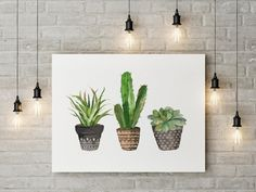 Cactus Wall Art cacti you and me | valentine cacti | watercolor cactus