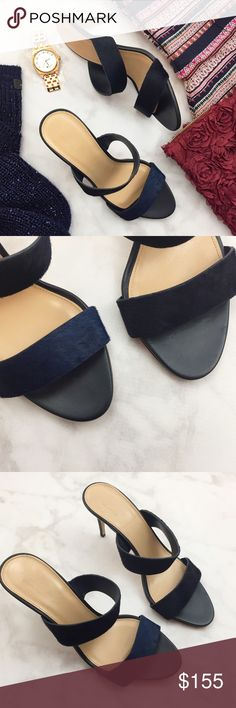 """J. Crew Collection Navy Calf Hair Mules Details: • Size 9 • Navy calf hair • 3"""" heel • New in box, never worn but there are some light marks on the outer sole  08031514 J. Crew Shoes Mules & Clogs"""