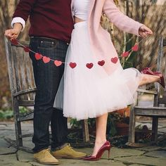 Ivory tulle skirt, couple photoshoot, valentines, sweetheart, red pumps shoes