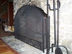 Blacksmith : Custom Designed Fireplace Screen : Hand Forged Steel ...